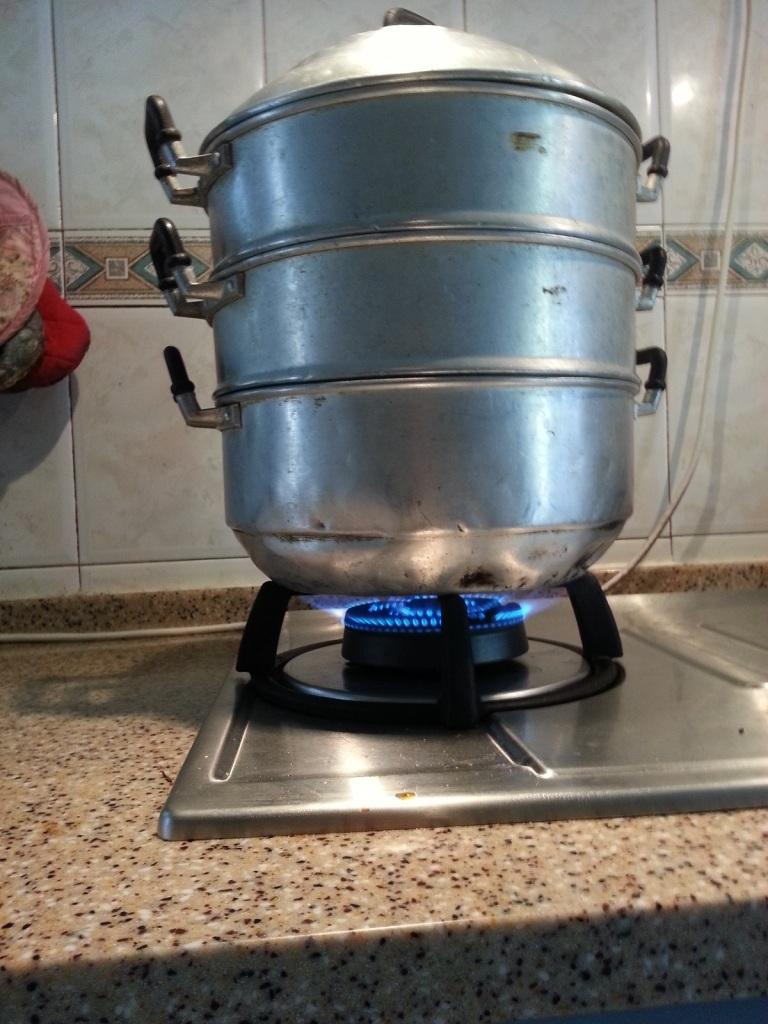 old antique steam cooker