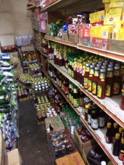 Wide range of bottles in sundry shop
