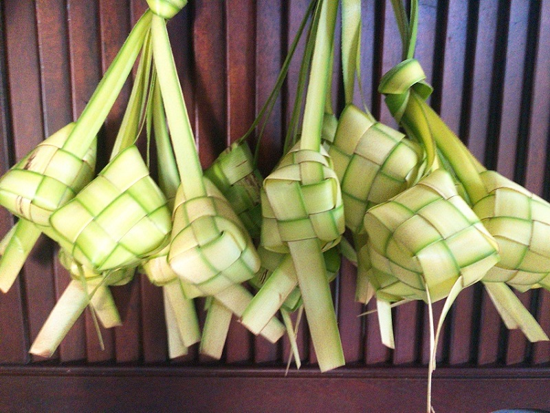 Woven Ketupat Using Young Coconut Leaves