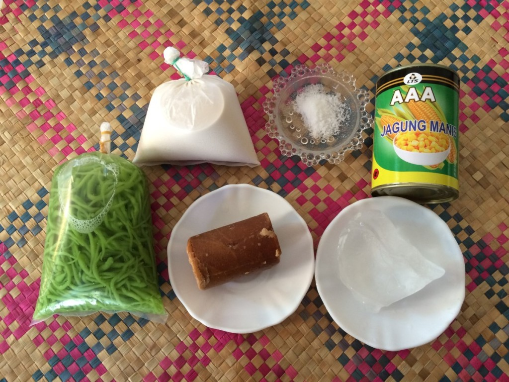 Ingredients to make cendol at home