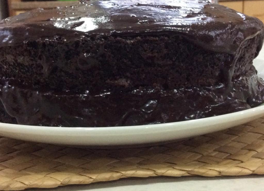 Two layer chocolate moist cake